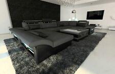 Design Interior Enzo U-Shaped Fabric Sofa Luxury Couch Recamiere Led Dark Grey