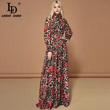 LD LINDA DELLA Fashion Runway Long Sleeve Maxi Dresses Women's Elegant Party Ros