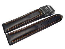 Uhrenarmband m. Faltschließe Leder glatt schwarz - orange Naht 18,20,22,24,26 mm
