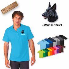 Camiseta Polo Algodón Bordado Perro Perro pastor 2 + Texto personalizado