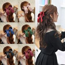Women Girls Cute Big Satin Hair Hair Band Boutique Hair Clip Ribbon Bow Headwear