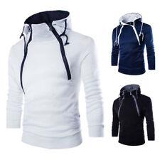 Mens Long Sleeve Patchwork Hoodie Coat Jacket Hooded Sweatshirt Tops Outwear NEW