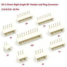 XH 2.54mm JST XH PCB Right Angle 90° Header and Plug Connector 2/3/4/5/6~10 Pin
