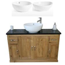 Oak Bathroom Vanity Unit 123cm Wide with Black Quartz Top & Ceramic Basin Set