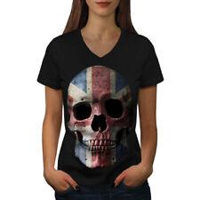 British Flag Skull Women V-Neck T-shirt NEW | Wellcoda