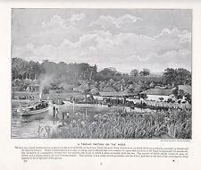 1897 VICTORIAN PRINT ~ A TRADING FACTORY ON THE NIGER IDDAH ~ DESCRIPTIVE TEXT