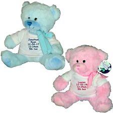 Personalised Teddy Bear New Baby Girl Boy Soft Newborn Baby Shower Gift Idea