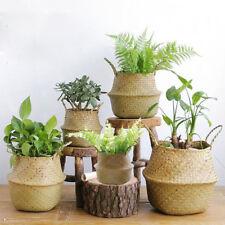 Hand-woven Seagrass Wicker Basket Flower Pot Folding Dirty Basket Home Decor