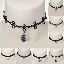 Gothique samthalsband strass perles coeur étoile Choker chaîne dentelle baroque