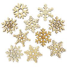10pcs Xmas Snowflake Wood Embellishments Scrap-booking Card Decoration Crafts