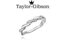 925 Sterling Silver Braid Twist Ring Clear Cubic Zirconia Size J K L M N O P Q R