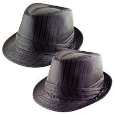M.Headwear Co.Satin Silky Stripe Trilby Fedora Hat Cap - Black - Brown