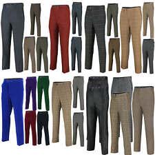 Para Hombre Tweed Pantalones Vintage Herringbone Slim Fit Traje Formal De Terciopelo cheques Pantalones