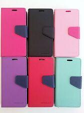 For Samsung Galaxy S4 S5 S6 Wallet Flip Case 2-Tone  ID Window Card Slots Pocket