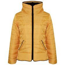 Kids Girls Jacket Gold Padded Puffer Bubble Faux Fur Collar Warm Coats 5-13 Yrs
