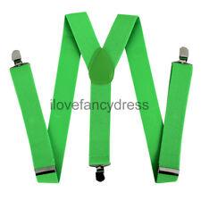 Verde Tirantes Elástico Ajustable Grueso Ligueros Para Hombre señoras Pantalones Brace