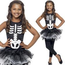 ragazze SCHELETRO Tutu Costume da Halloween BIANCO NERO OSSA Vestito Smiffys