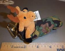 Cute Stuffed Moose in Sleeping Bag w/ carabiner clip & hook n loop pouch, cool!