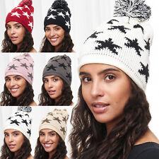 New Women's Hat Stars Beanie PomPom Hat Pattern Motif Stars Pompom Knitted Cap