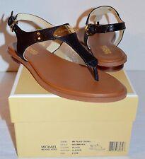 b78fc17f4ab7 New  99 Michael Kors MK Plate Thong Leather Black Sandal
