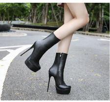 Women Platform Slim High Heel Ankle Boots Round Toe Zipper Winter Shoes Stiletto