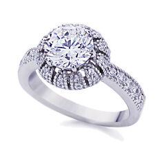 3.5mm Platinum Plated Sterling Silver 2ct CZ Vintage Wedding Engagement Ring set