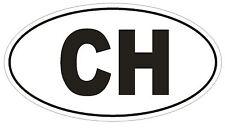 CH Switzerland Country Code Oval Bumper Sticker or Helmet Sticker D966 Swiss