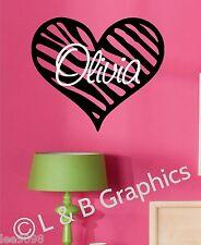 Zebra Print Heart with Name vinyl Wall Decal Teen/Tween