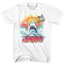 Jaws Movie T-Shirt Mens New Licensed Beachy Airbrush White Cotton Sm - 5Xl
