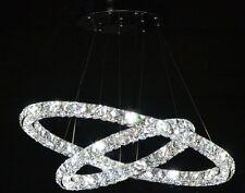 Modern 2 tier 3 sides LED K9 Crystal Pendant Lamp Diamond Ring Ceiling Lighting