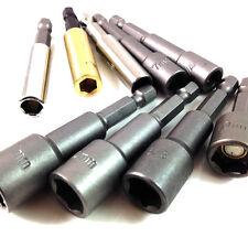"""HEX Drive TEK bit 7mm 10mm 11 mm 1/4 """" 3/8"""" 5/16 """"in ottone, MAGNETICO TRAPANO titolari"""