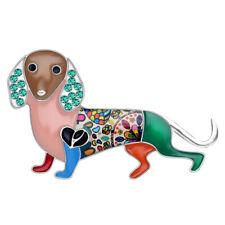 Pet Jewelry For Women Girl Gift Enamel Alloy Rhinestone Dachshund Dog Brooch Pin