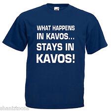 What Happens Kavos Adults Mens T Shirt 12 Colours Size S - 3XL