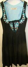 Damen Dirndel Kleid Gr. 32 schwarz mit türkis Baumwolle
