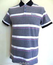 BEN SHERMAN Men's Striped Polo T-Shirt Cotton MC00166 Navy Size: S,M