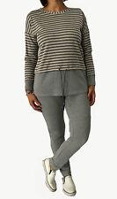 CALALUNA pantalone donna felpa garzata grigio elastico in vita polso in fondo