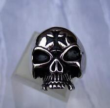 Anello in acciaio inox lucido massiccio -ek- TESCHIO da rocker MOTOCICLISTA