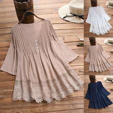 Women Vintage 3/4 Sleeve Lace V-Neck Loose  Long Tunic Top T-Shirt Dress Blouses