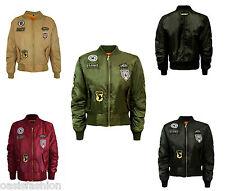 MA1 Combat US Badge Air Force Army Vintage Ladies Bomber Biker Jacket Size 8-20