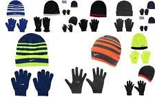 New Kids Boys Genuine Nike Stylish Snow Stripe Hat And Gloves Set  14  Colours