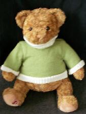 "18"" Gund~2006 Plush~Little Brown Bear~Green Sweater~46120~Soft & Cuddly"