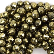 "Faceted Pyrite Hematite Round Beads Gemstone 15.5"" Strand 4mm 6mm 8mm 10mm 12mm"