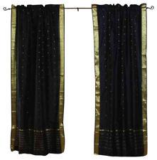 Black Rod Pocket Sheer Sari Curtain / Drape / Panel - Piece