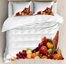 Harvest Duvet Cover Set with Pillow Shams Fall Season Arrangement Print