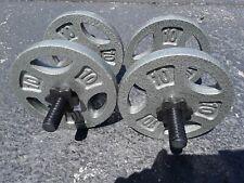 """2 CAP Standard 1"""" Free Weight 14"""" Adjustable Barbells Dumbells Handle 40 lb Set!"""