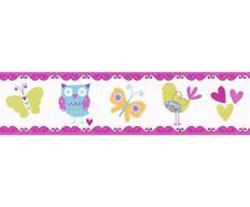 Bordo adesivo bambini Gufo e Farfalla | Decorazione per camerette e sale gioco