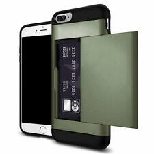 ARMY GREEN Slide iPhone Galaxy Wallet Case Credit Card Hidden Pocket Slot Cash