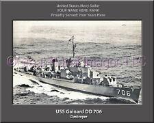USS Gainard DD 706 Personalized Canvas Ship Photo Print Navy Veteran Gift