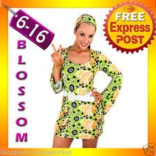 E52 60s 70s Retro Hippie Go Go Girl Disco Fancy Dress Halloween Mod Costume
