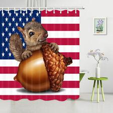 Animal Vivid Squirrel and Big Nut American Flag Waterproof Fabric Shower Curtain